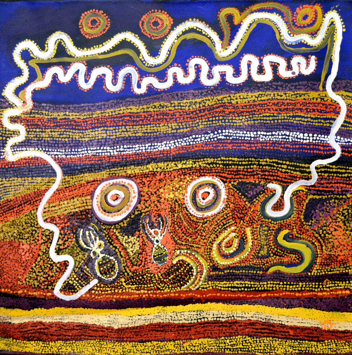 Mick Wikilyiri Tjala tjukurpa - Honey ant story acrylic on linen 100 x 100 cm