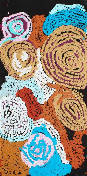 Esther Giles Wanarn Tjilpi acrylic on canvas 50.8 x 101.6 cm