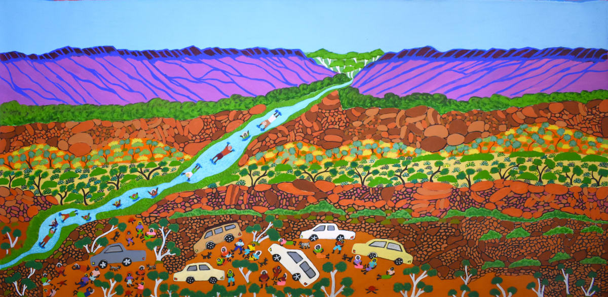 Betty Conway Illara Creek, Tempe Downs acrylic on linen 90 x 175 cm