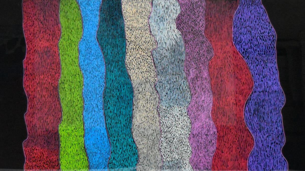 Tommy May (Ngarralja) Jila and Bila acrylic on polycarbonate 60 x 90 cm
