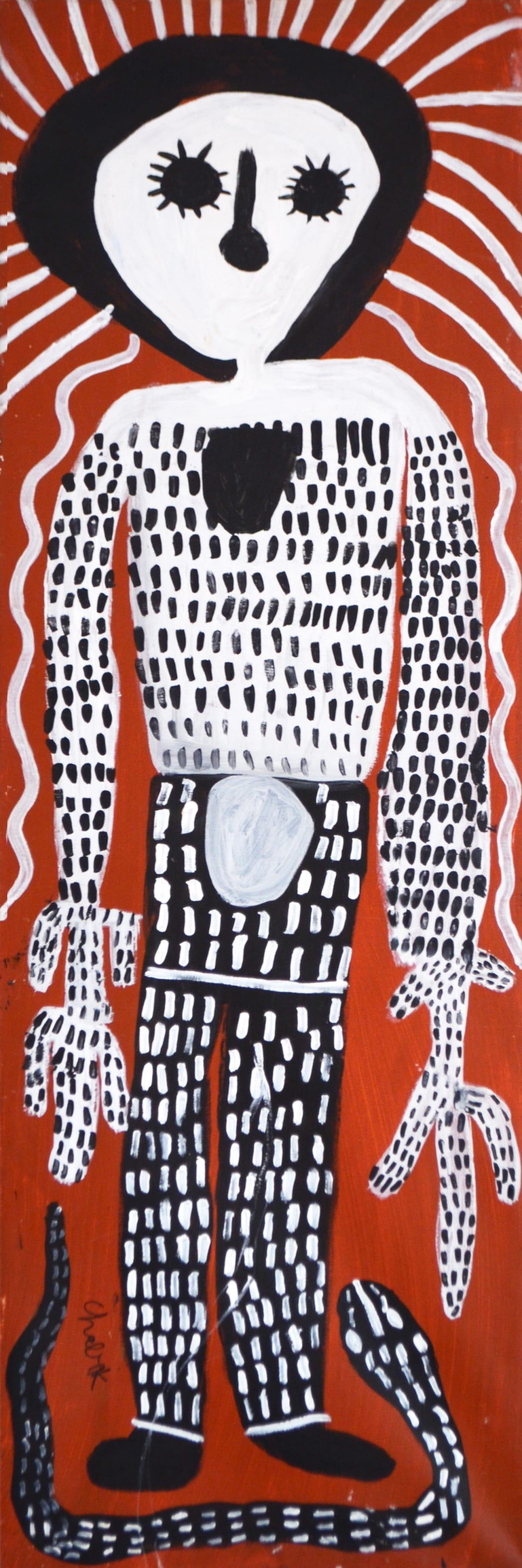 Mabel King Wandjina & Ungud Snakes acrylic on canvas 122 x 44 cm