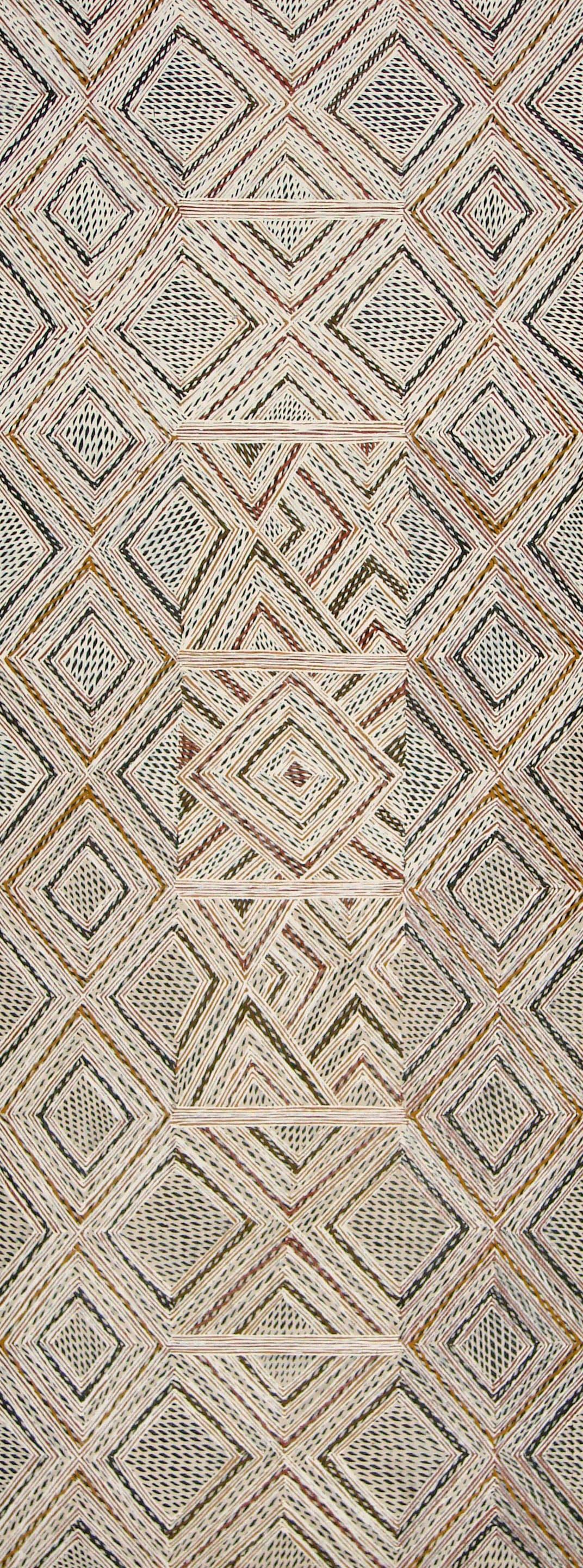 Garawan Wanambi Marranu Miny'tji natural earth pigment on bark 107 x 41 cm