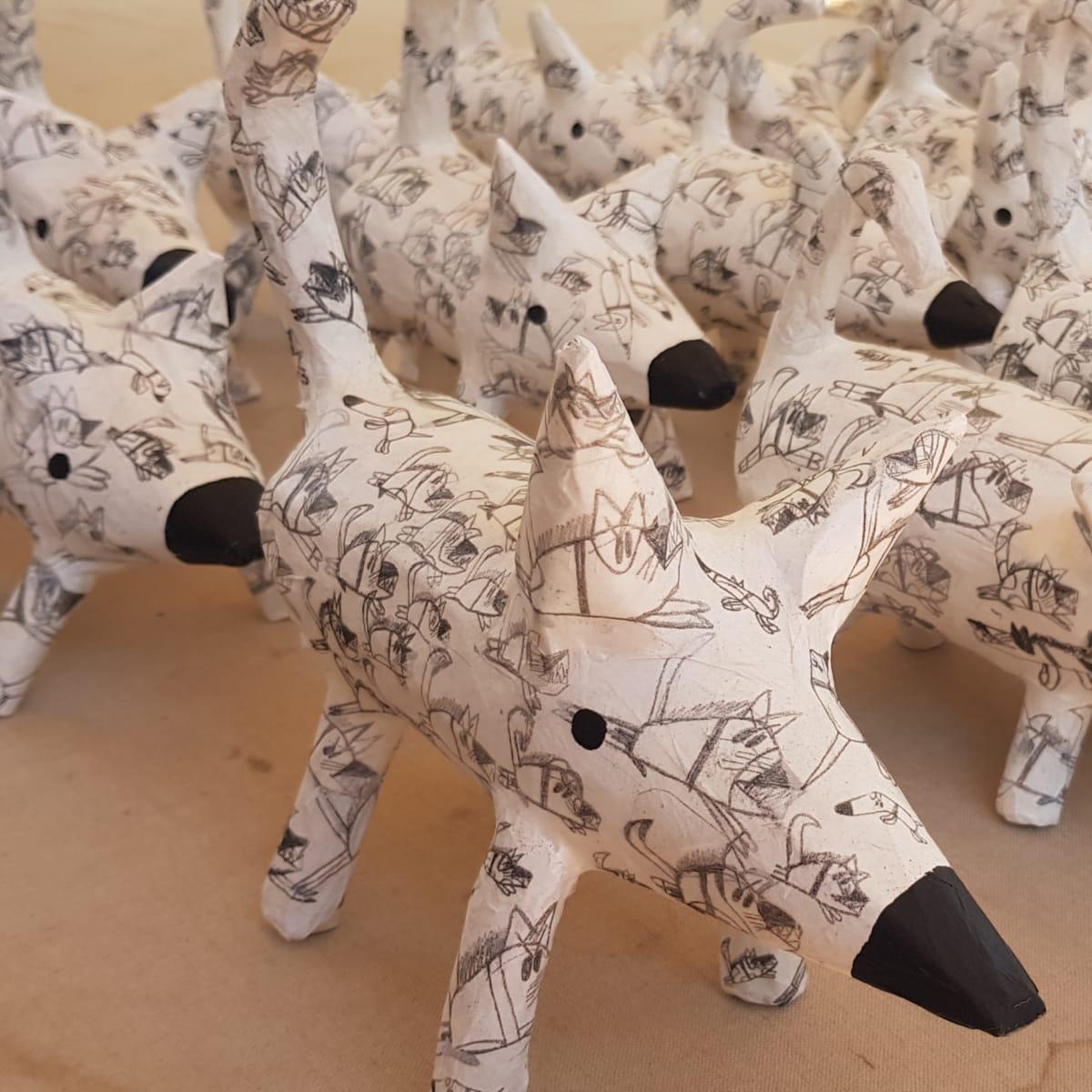 Dion Beasley Cheeky Dog, 2019 Paper-mache Various