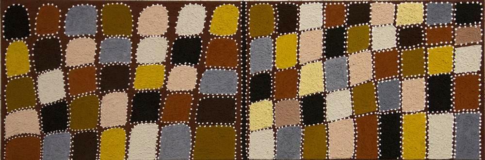 Shirley Purdie GIJA KINSHIP natural earth pigment on canvas 150 x 50 cm