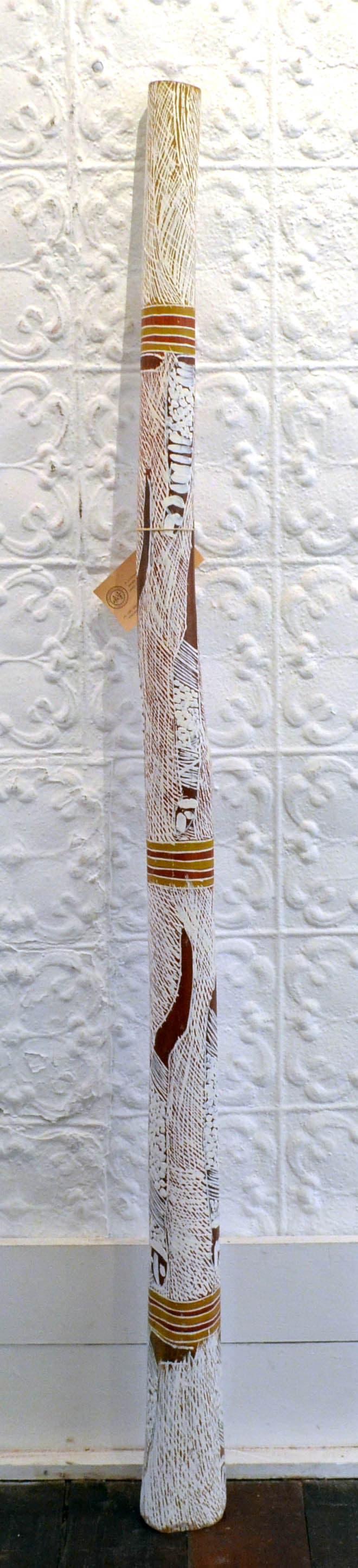 Nyapanyapa Yunupingu (Wendy) Yidaki natural earth pigment on wood 152 x 12 cm