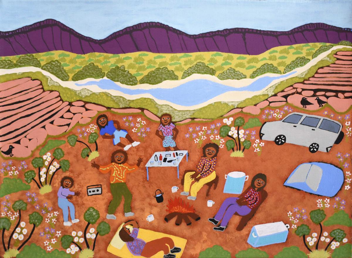 Betty Conway Illari Springs, Tempe Downs acrylic on linen 56 x 77 cm