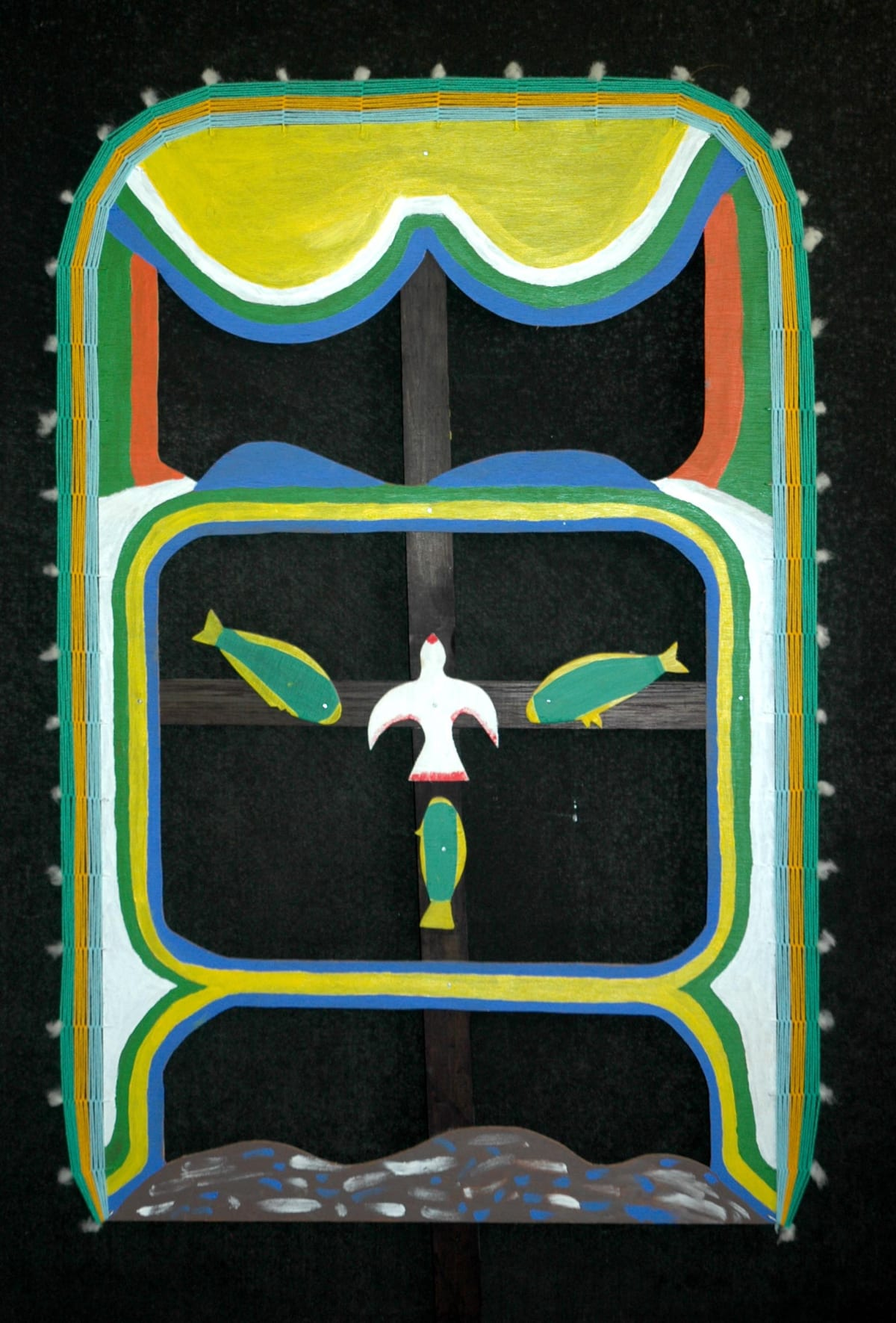 Roy Wiggan Ilma acrylic on plywood, cotton wool 113 x 68 cm