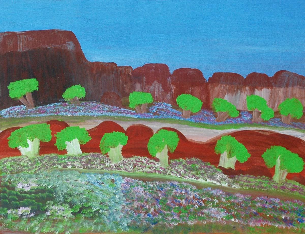 Daisy Andrews Lumpu Lumpu atelier artist acrylic on 250gsm velin arches 50 x 65 cm