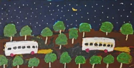 Sally M Mulda All the people going to Docker River for sports carnival acrylic on linen 46 x 90 cm
