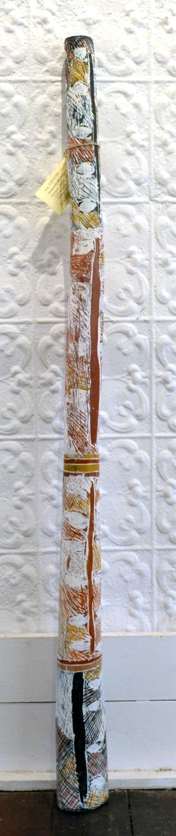 Nyapanyapa Yunupingu (Wendy) Yidaki natural earth pigment on wood 131 x 10 cm