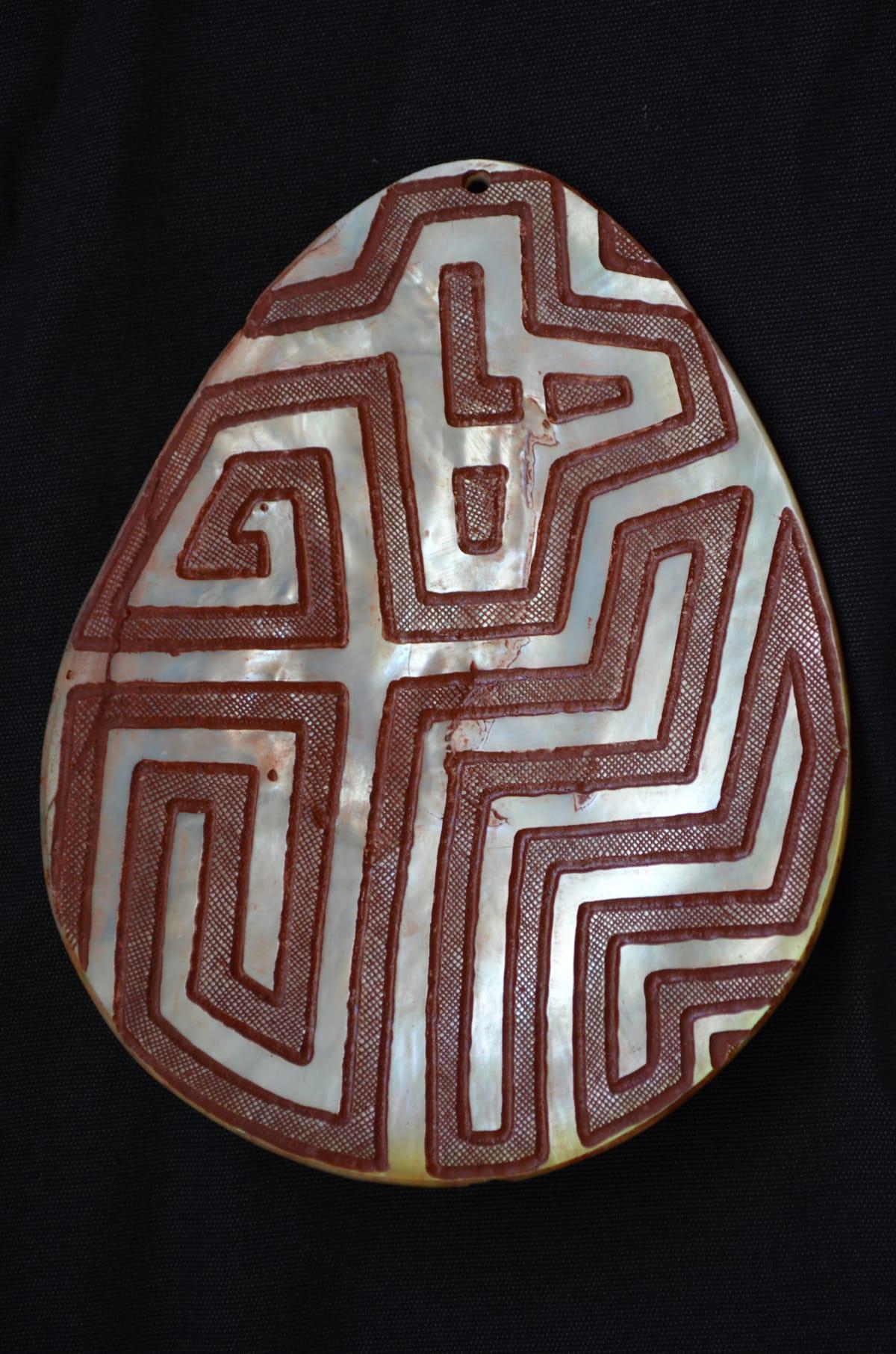 Sebastian Arrow Jalinyi ochre carving on pearlshell 16.5 x 15 cm