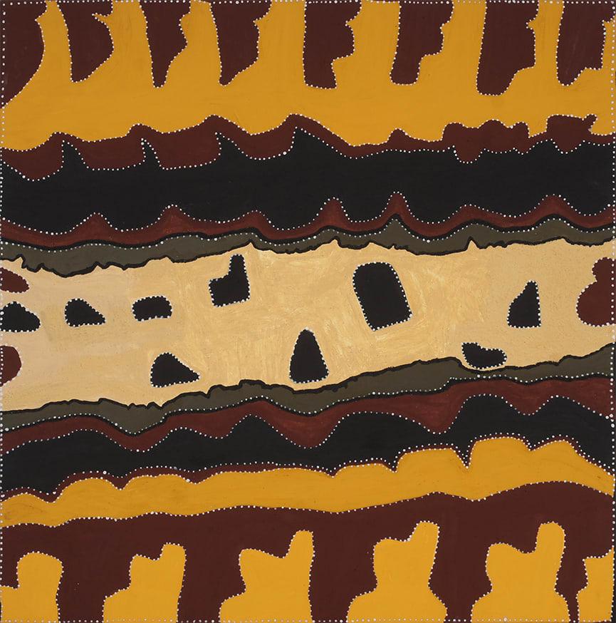 Beryline Mung Jalaka natural ochres on canvas 120 x 120 cm
