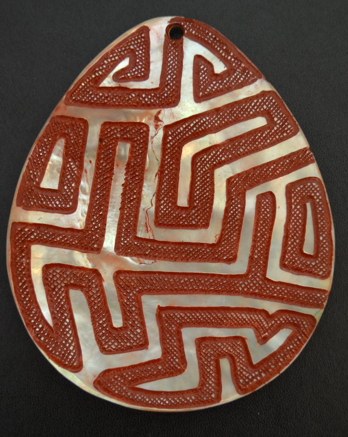 Sebastian Arrow Untitled carved pearl shell & red ochre 13.5 x 11 cm