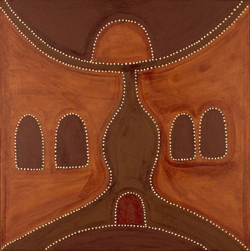 Charlene Carrington Cicada Dreaming natural ochres on canvas 80 x 80 cm