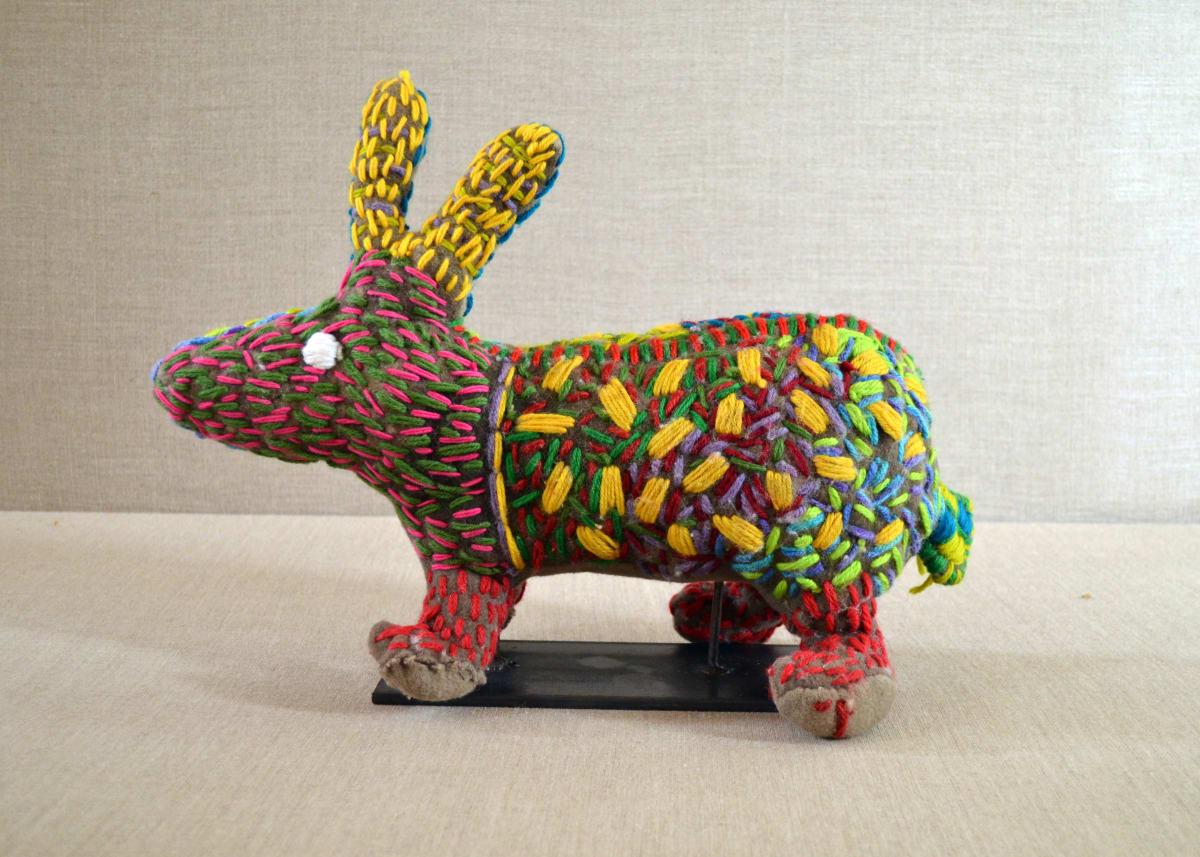 Roxanne Petrick Rabbit Soft Sculpture 34 x 45 x 18 cm