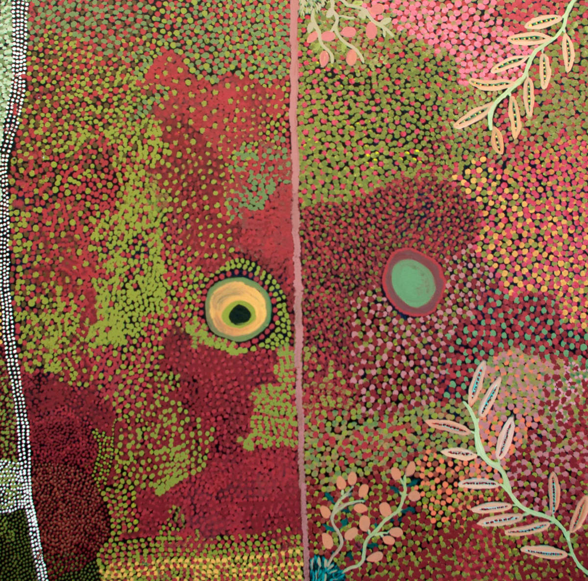 Nora Tjookootja Piparr Rockhole acrylic on canvas 120 x 120 cm