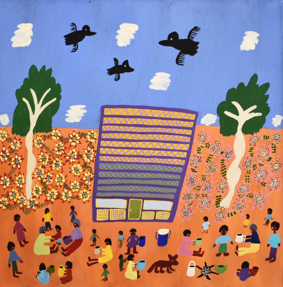 Margaret Kunmanara Nampitjinpa Boko M'Bunghara on Glen Helen Station acrylic on linen 65.5 x 65.5 cm