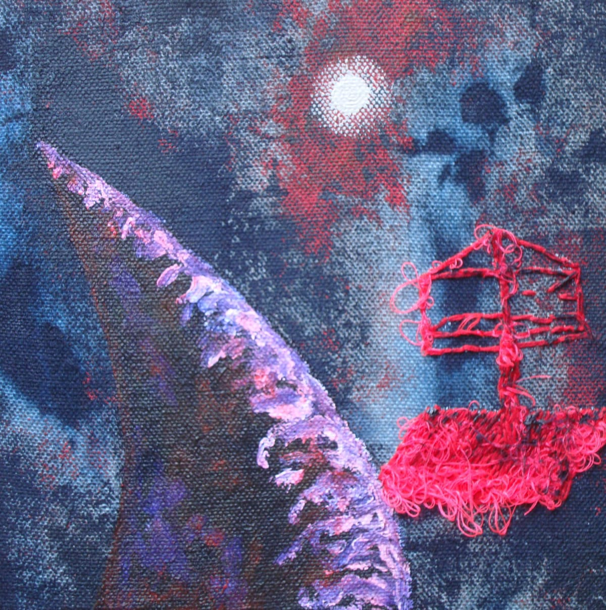 Stephen Eastaugh EMERGENCY CRAFT (RAFT) acrylic, thread, linen 23 x 23 cm