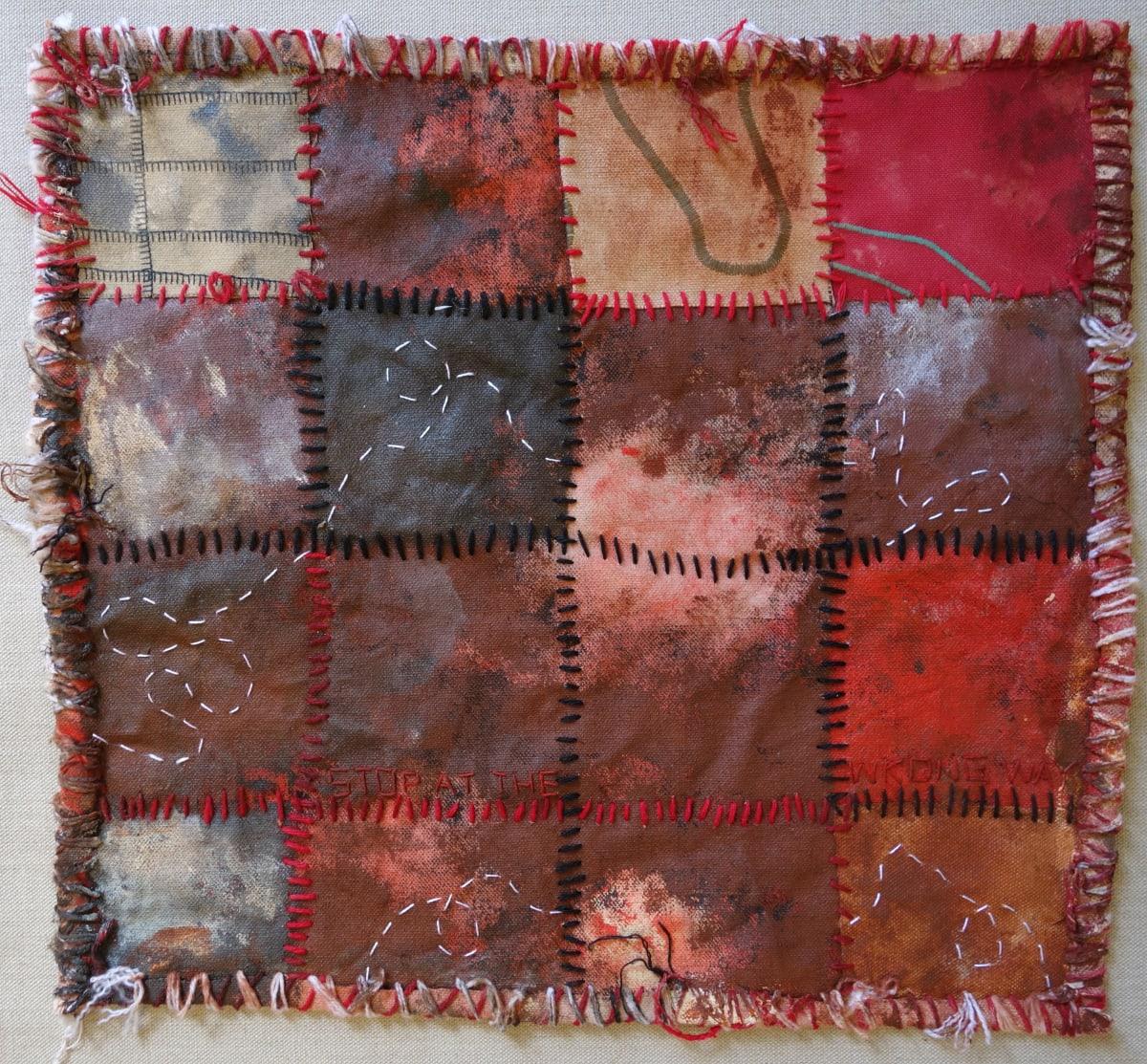 Stephen Eastaugh MUDMAPS 6 (Stop at the wrong way) Broome acrylic, thread, linen 45 x 45 cm