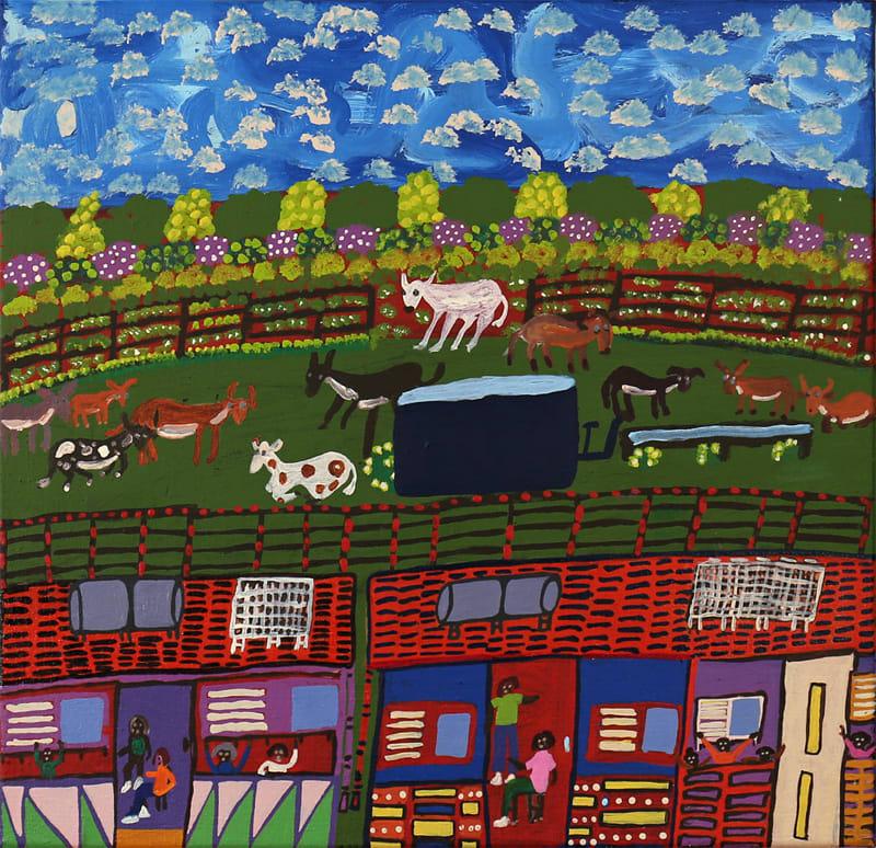 Doris Thomas Ritjingka (Alice Wells) acrylic on linen 55 x 57 cm
