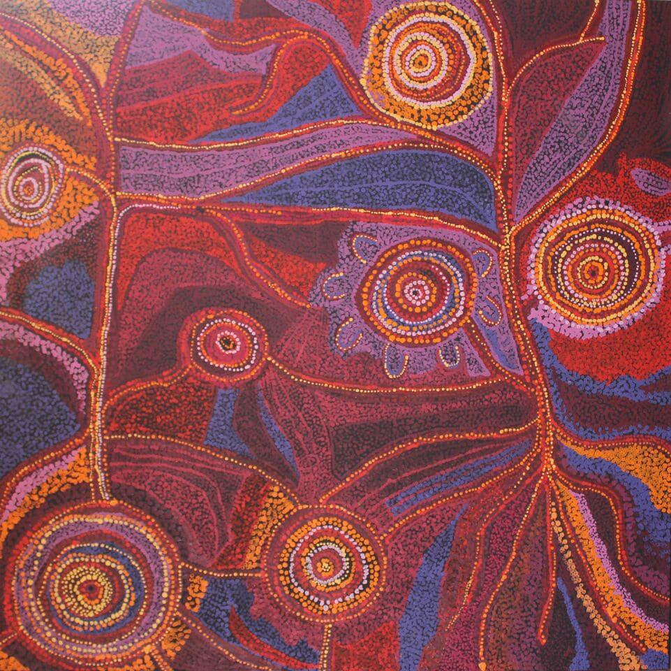 Teresa Punami Mula Pimangka Seven Sisters Tjukurpa acrylic on linen 150 x 150 cm
