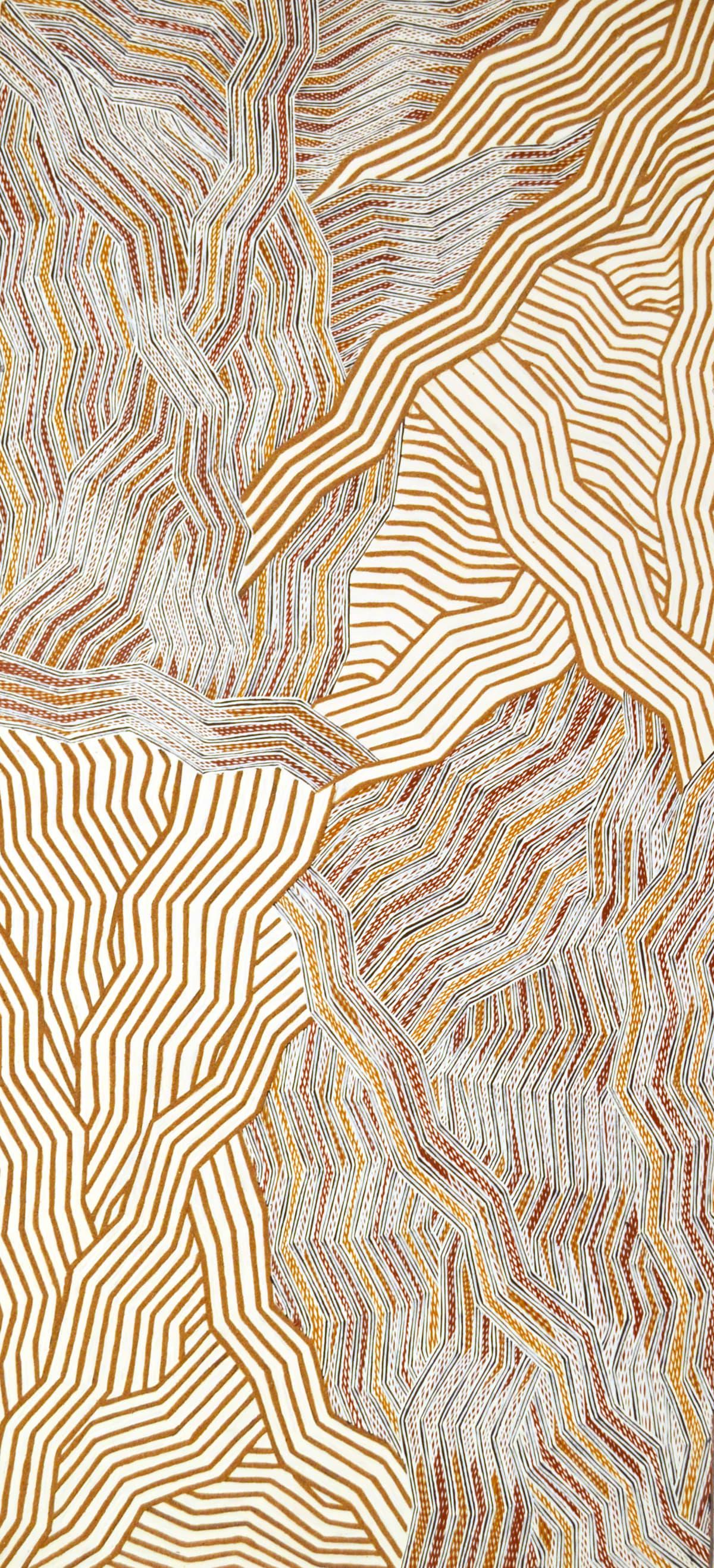 Lamangirra #2 Gumana Garraparra natural ochre and pigments on board 121 x 56 cm