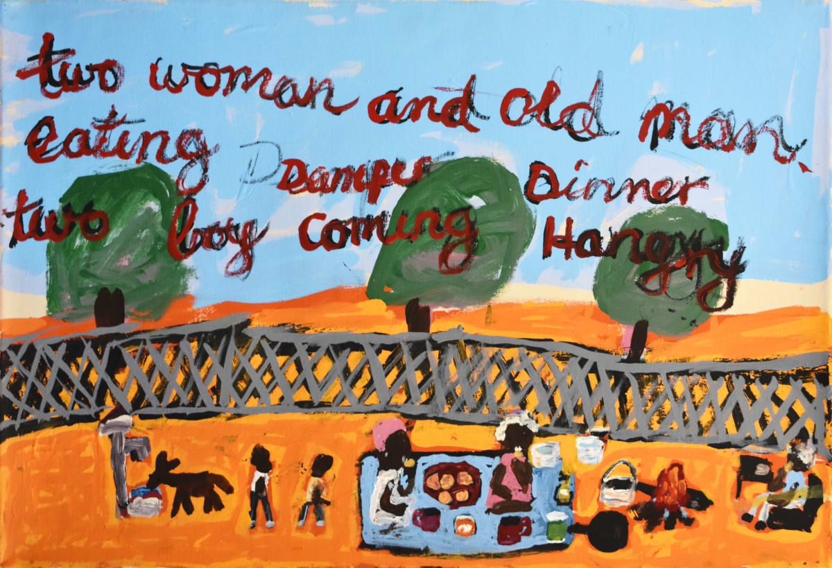 Sally M Mulda Two Woman and old man eating damper acrylic on linen 50 x 74 cm