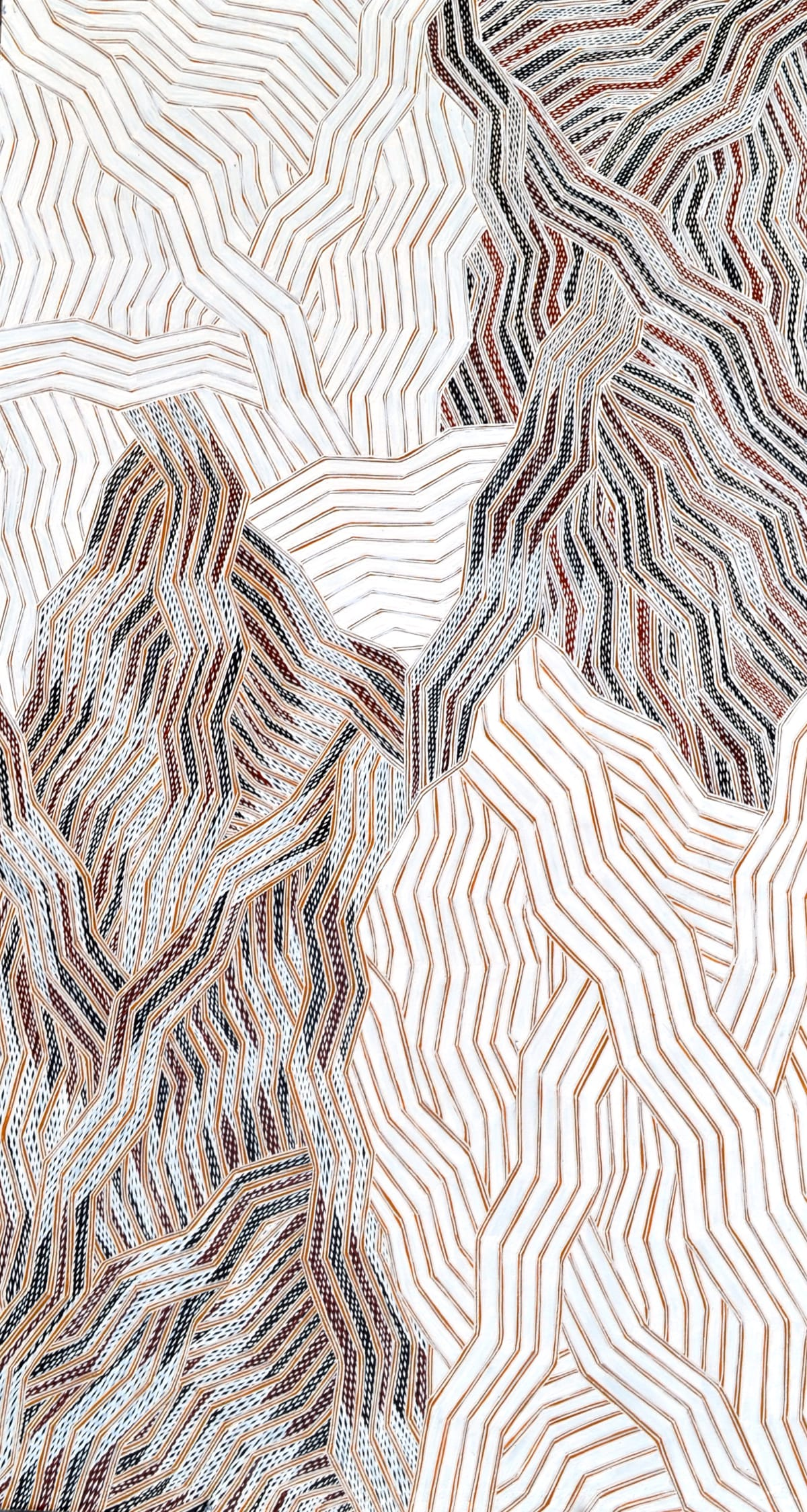 Lamangirra #2 Gumana Garraparra natural earth pigment on board 121 x 67 cm