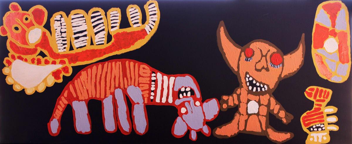 Tiger Yaltangki Mamutjara (Ghost Story) acrylic on canvas 51 x 122 cm