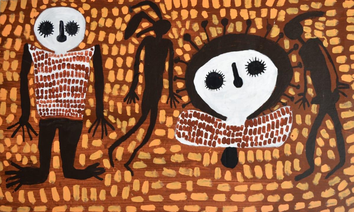 Mabel King Wandjinas & Gyorn Gyorn acrylic on canvas 84 x 142 cm