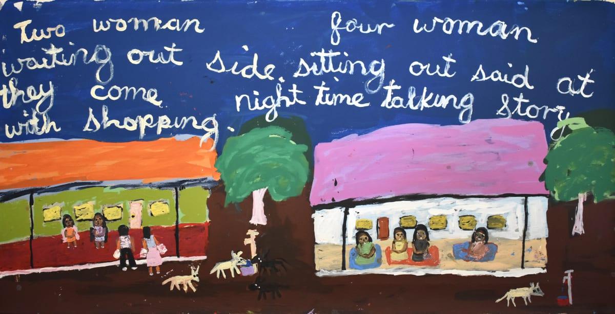 Sally M Mulda Two women waiting outside, four women sitting acrylic on linen 61.2 x 122 cm