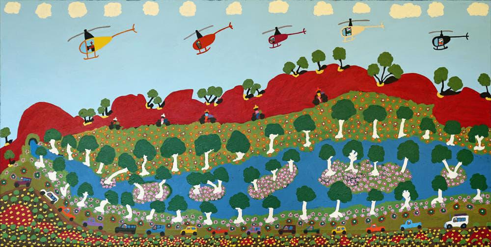 Grace Kemarre Robinya Plenty Rain, Bush North of Alherramp acrylic on linen 90 x 177 cm