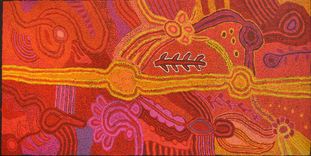 Tjunkaya Tapaya Kungkarangkalpa Attila acrylic on canvas 84 x 170 cm
