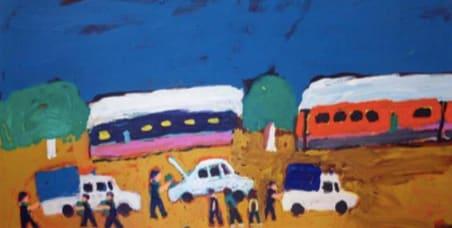 Sally M Mulda Down the Gap acrylic on linen 46 x 90 cm
