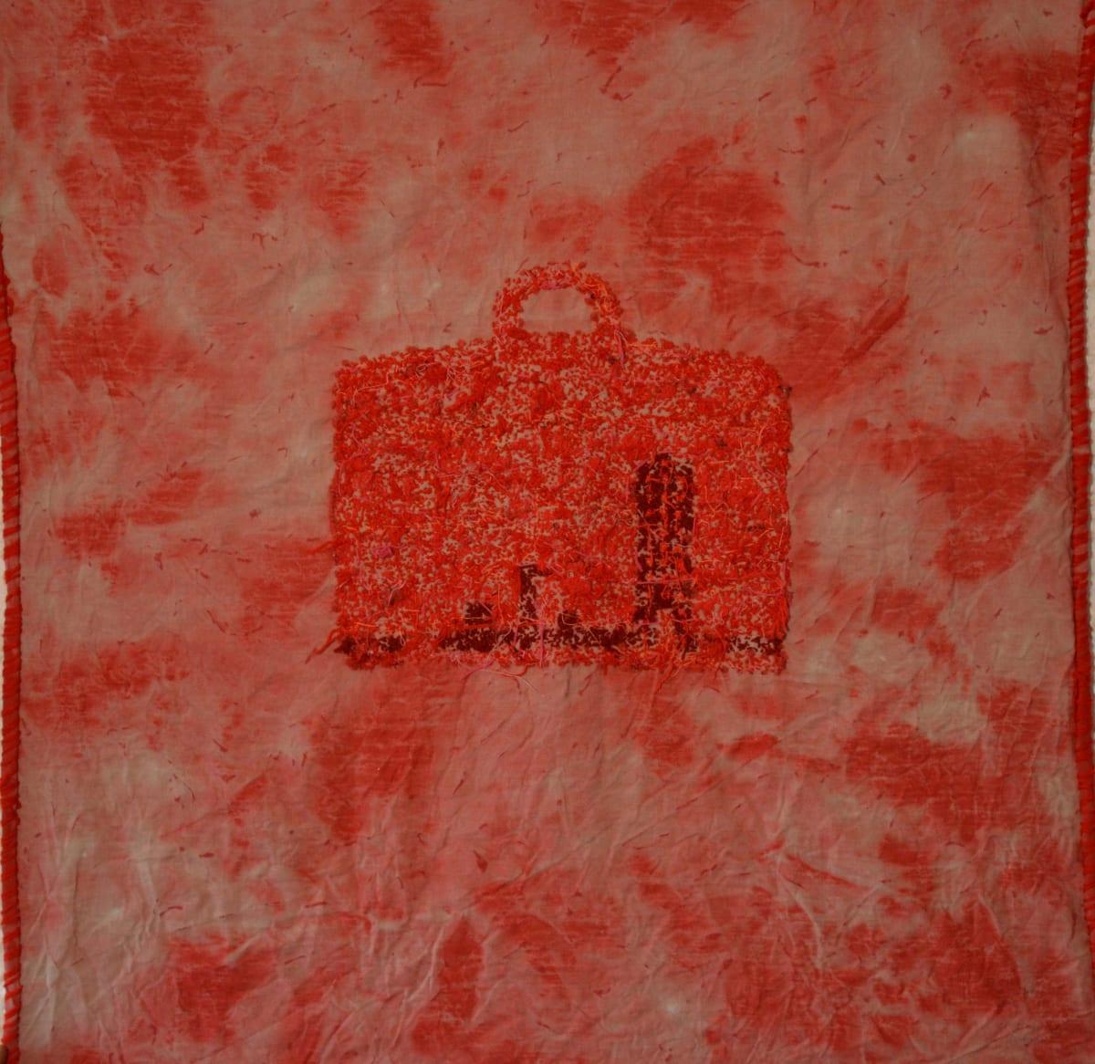 Stephen Eastaugh Impedimental Baggage (Vietnam) acrylic, thread, linen 140 x 140 cm