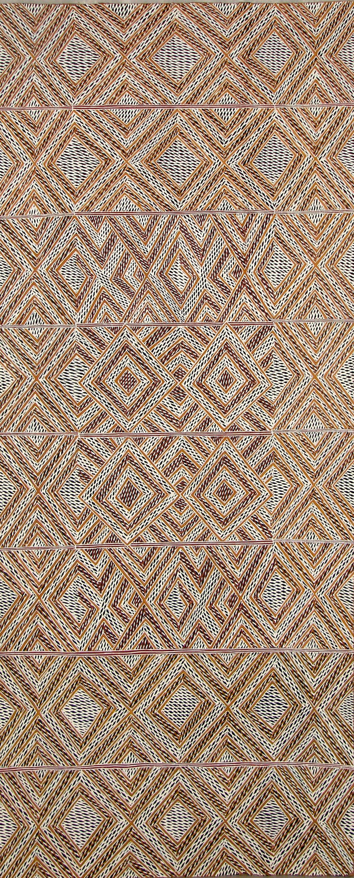 Garawan Wanambi Marranu Miny'tji natural earth pigment on bark 121 x 49 cm