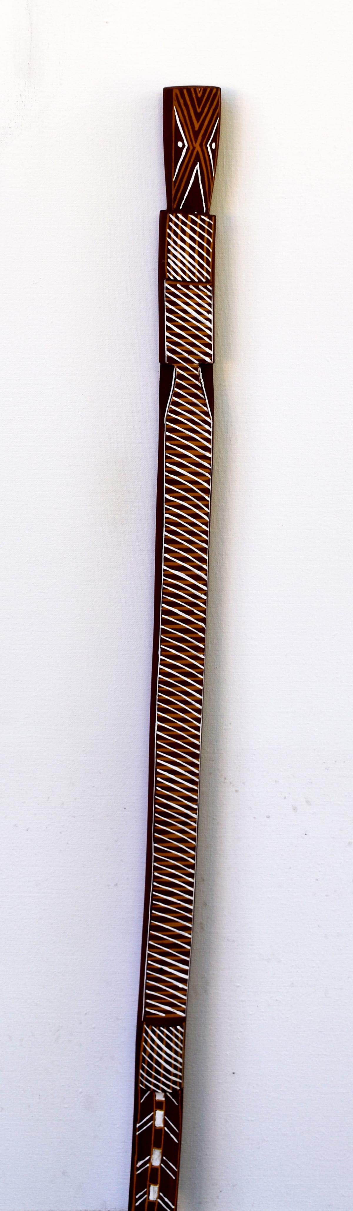 Joy Garlbin Djomi, 2018 Carved Wood & Ochre 94 x 4 x 4 cm