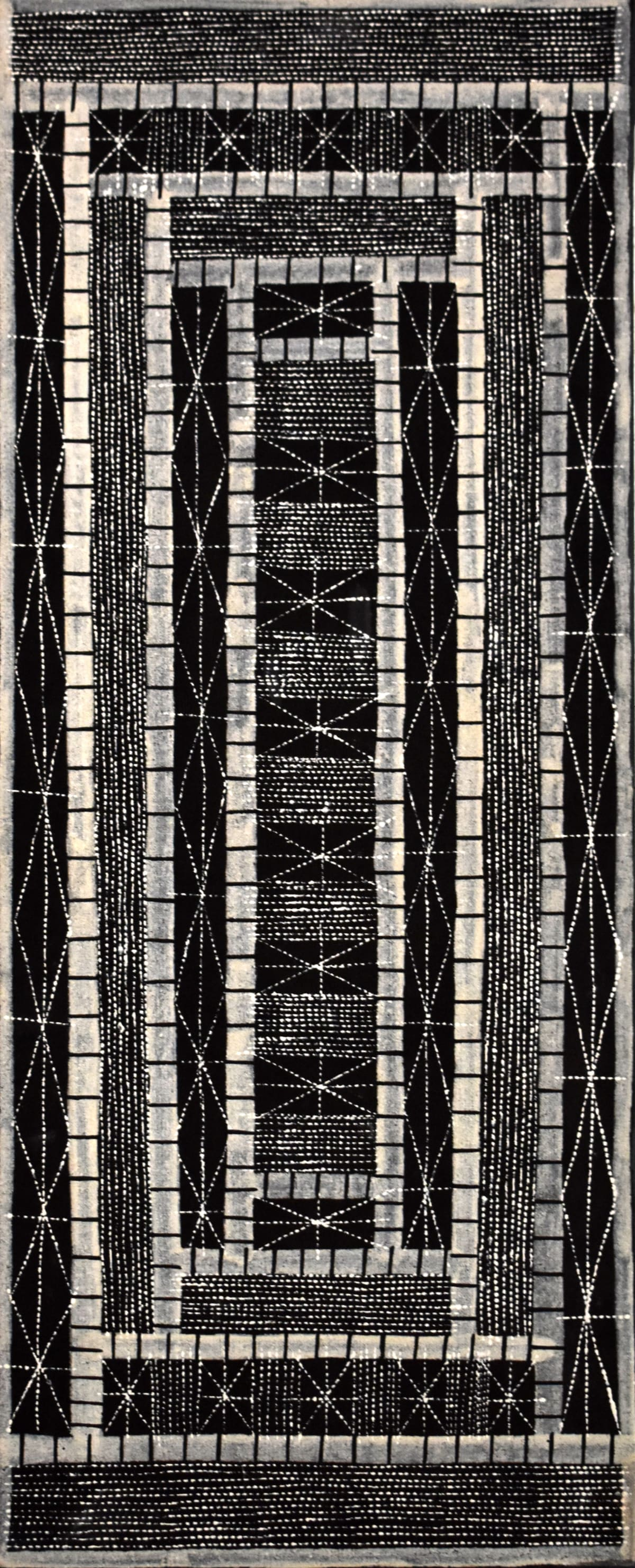 Pedro Wonaeamirri Jilamara natural ochres on linen 80 x 30 cm