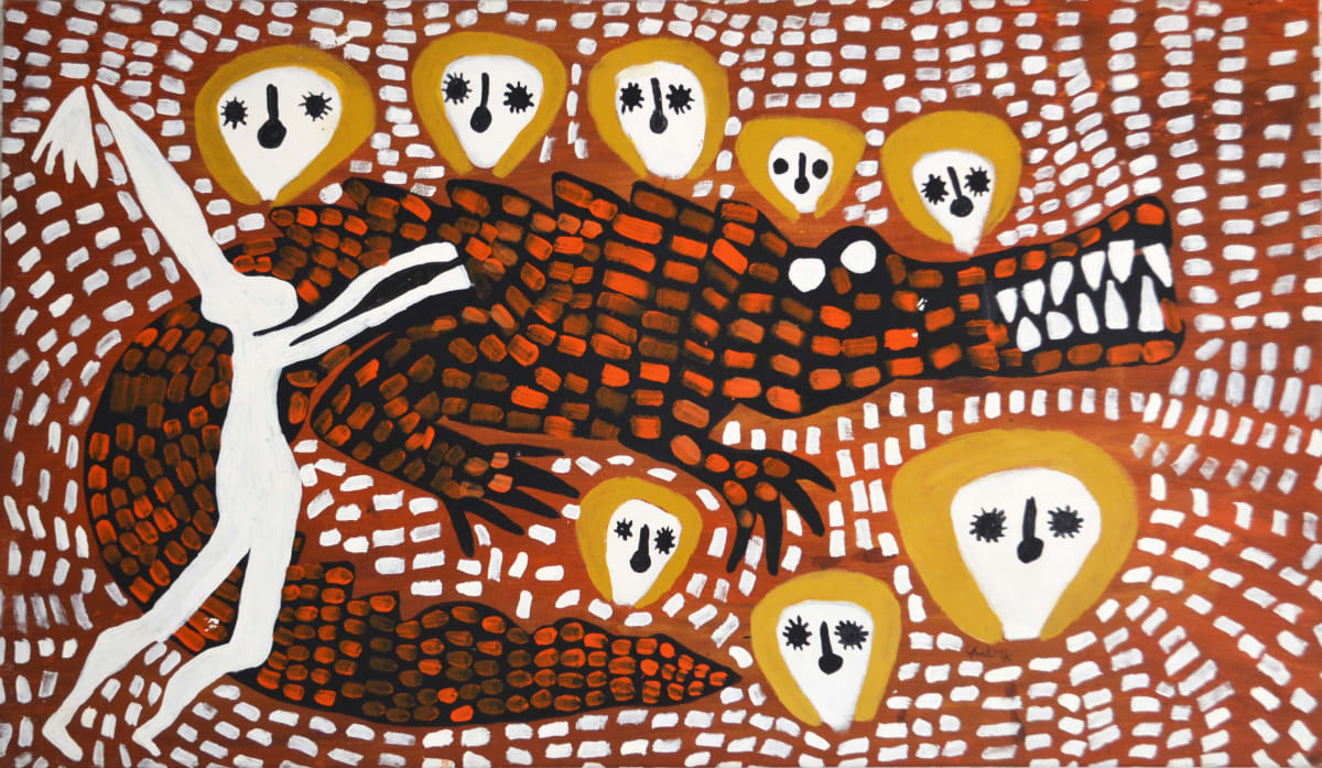 Mabel King Wandjina & Crocodile acrylic on canvas 80 x 138 cm