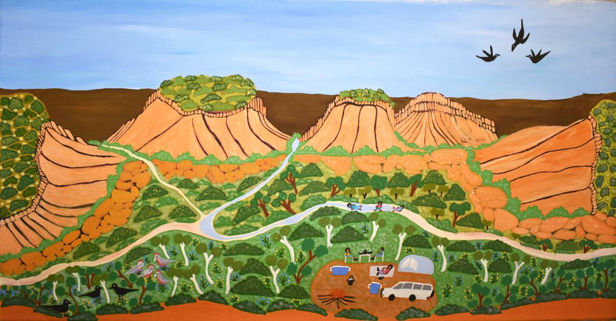 Betty Conway Illari Springs acrylic on linen 77 x 149 cm