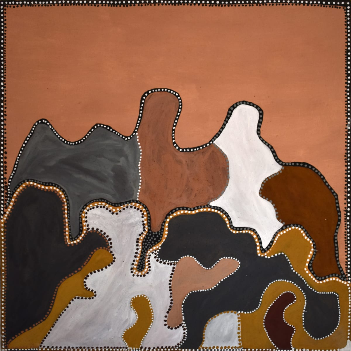Rusty Peters Billimack, 2019 Natural ochre & pigment on canvas 120 x 120 cm