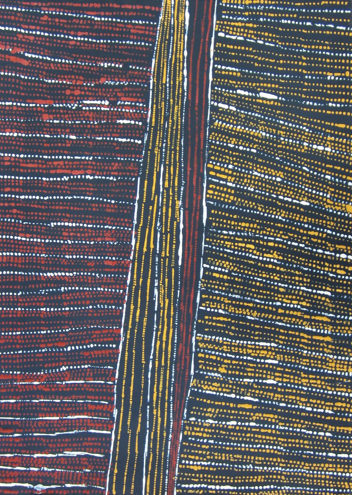 Conrad Tipungwuti Pakitiringa ( Rain), 2015 ochre on paper 76 x 106 cm