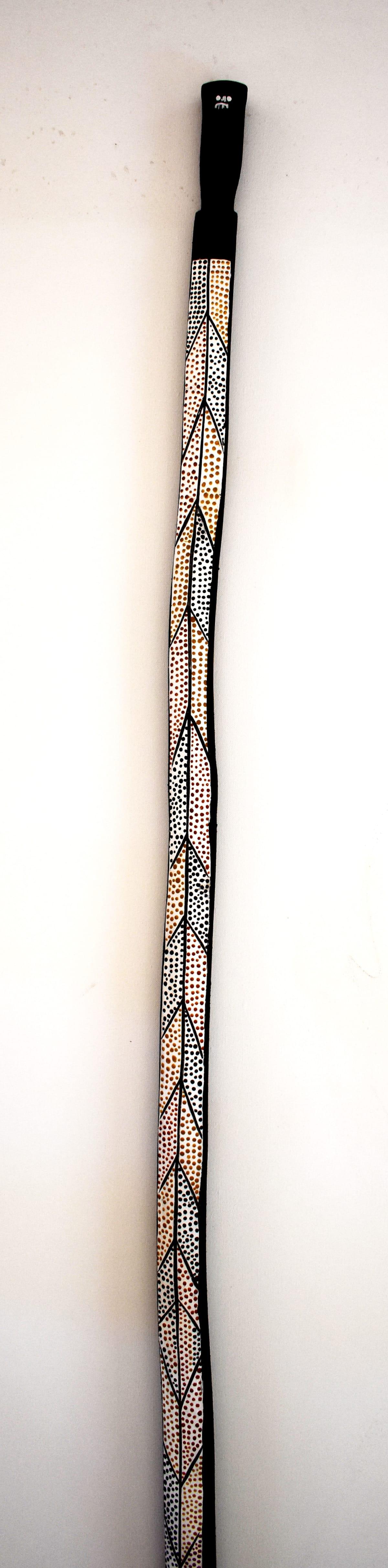 Josephine Wurrkidj Yawkyawk, 2018 Carved Wood & Ochre 196 x 4 x 4 cm