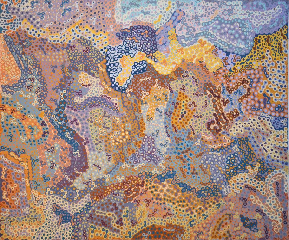 Tjampawa Stevens Piltati acrylic on canvas 144 x 121 cm