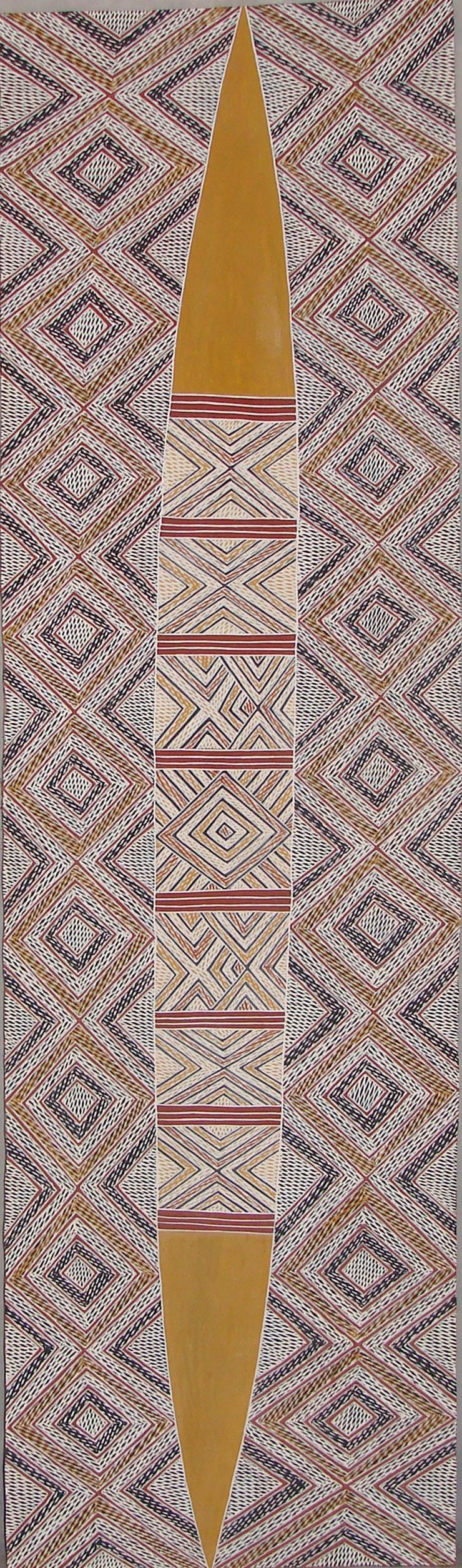 Garawan Wanambi Marranu Miny'tji natural earth pigment on bark 155 x 42 cm