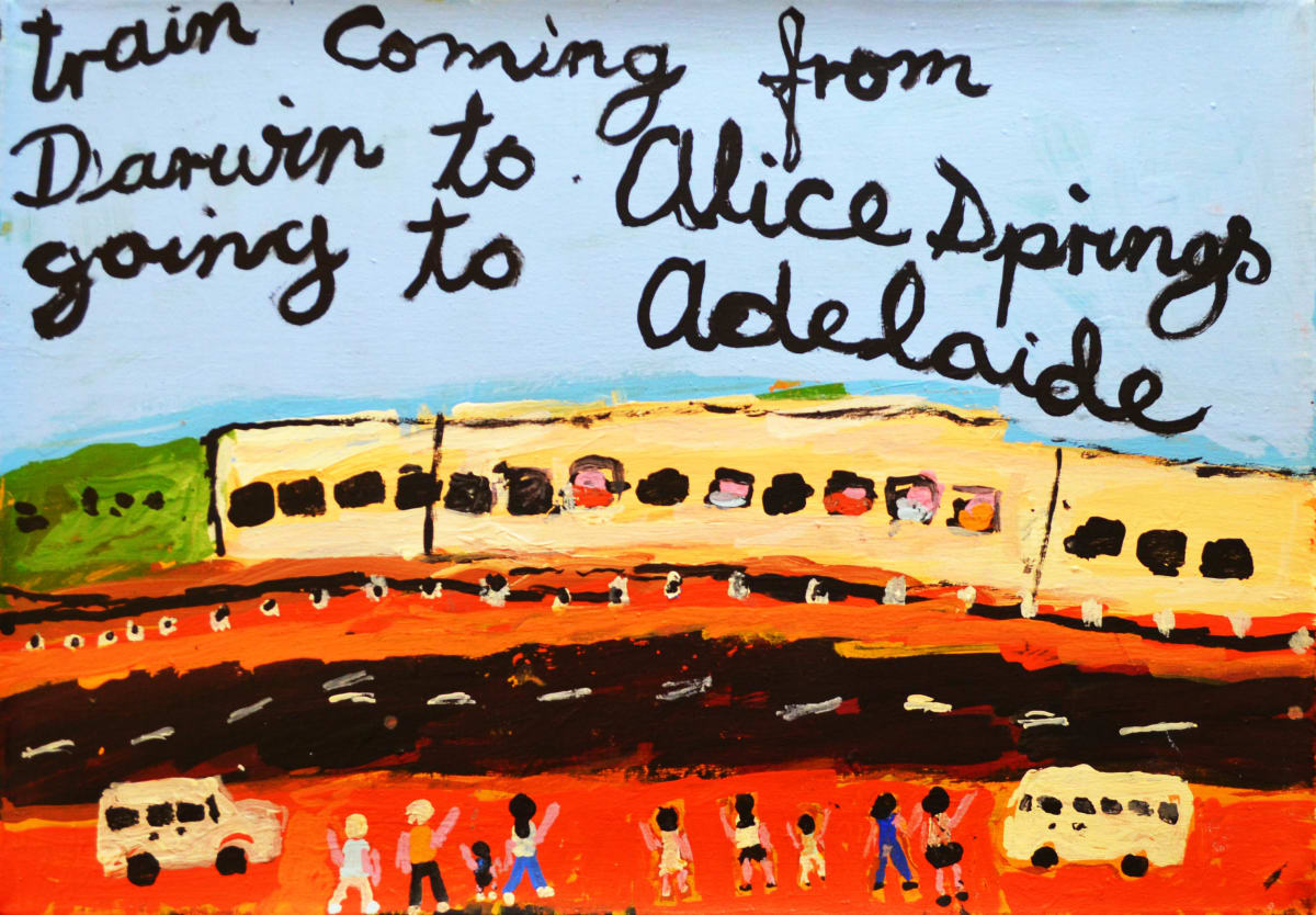 Sally M Mulda Train Coming from Darwin acrylic on linen 50.5 x 73.5 cm