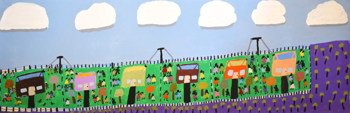 Grace Kemarre Robinya Time at Larrumba acrylic on linen 39.5 x 119.5 cm