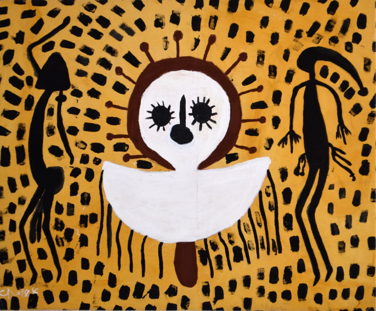 Mabel King Wandjina & Gyorn Gyorn acrylic on canvas 90 x 76 cm