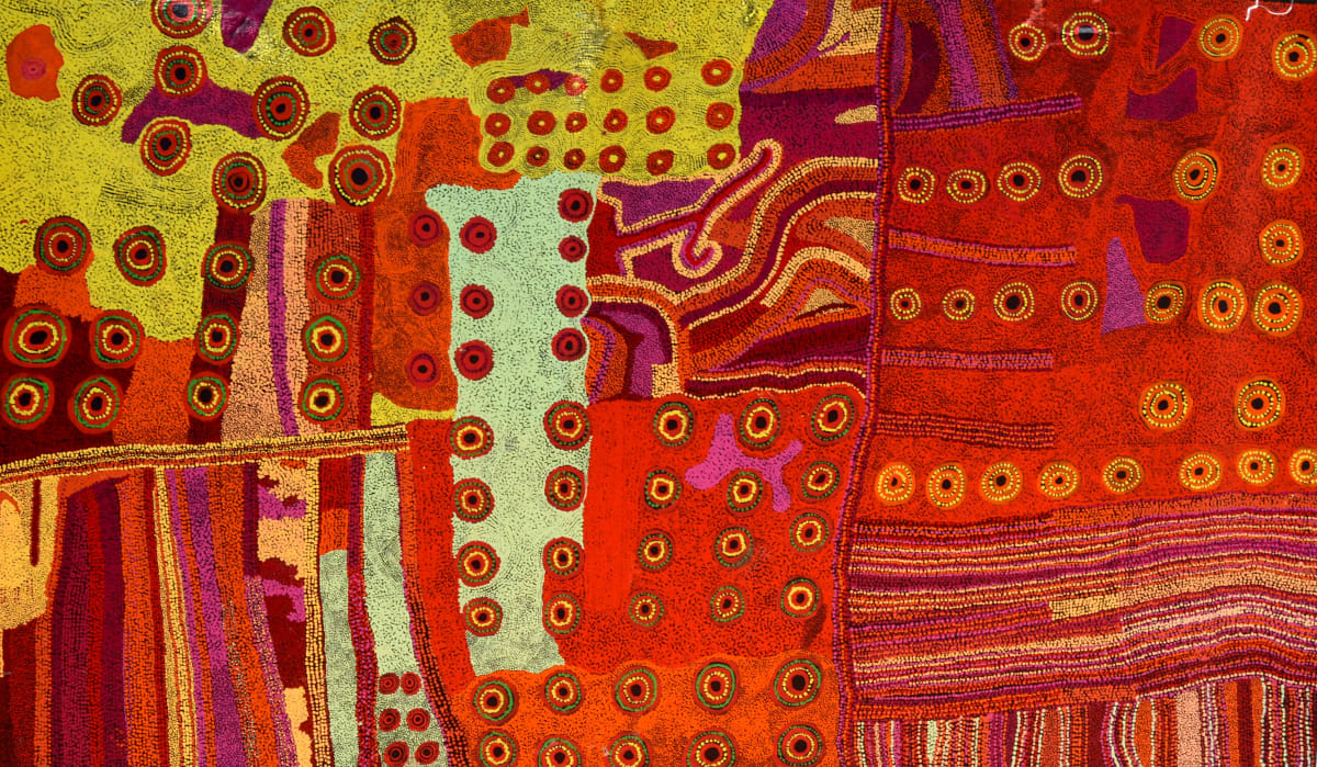 Ginger Wikilyiri and Bernard Tjalkuri Tjukurpa Tjuta acrylic on linen 200 x 120 cm