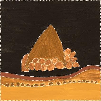 Kathy Ramsay Ngarrangarni Rock natural ochres on canvas 80 x 80 cm
